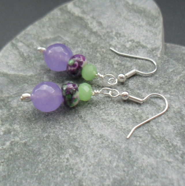 Lilac Quartz and Rainflower Jasper Silver Plated  Earrings