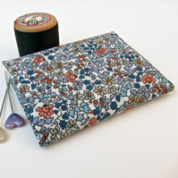 Emilia's Flowers (grey & blue) Liberty Mini Single 9 inches x 12 inches
