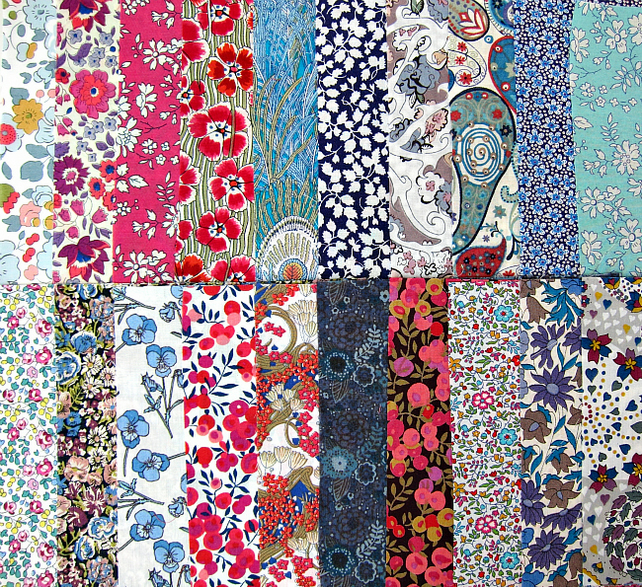 Twenty 5 inch Liberty Tana Lawn Cotton Squares - blue and red