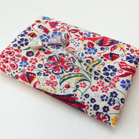 Juno's Garden (A) red, blue - Liberty Lawn fabric (9x12 inch piece)