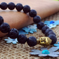 Gold Buddha Head Lava Stone Bracelet, Gift for Men, Father's Day Gift