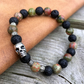 Skull Bracelet, Lava Stone and Unakite Bracelet, Gift for Men, Gift for Women
