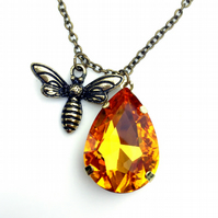 Honey Bee Necklace, Bee and Honey Necklace, Gift for Mum at Christmas