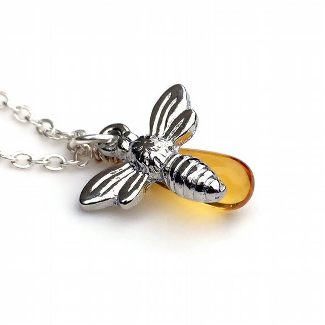 Silver Honey Bee Necklace, Tiny Bee Charm, Bee and Honey Dainty Petite Jewellery