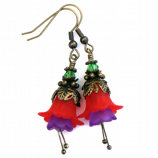 Fuchsia Flower Earrings, Red Lucite Flower Brass Earrings, Gift for Her