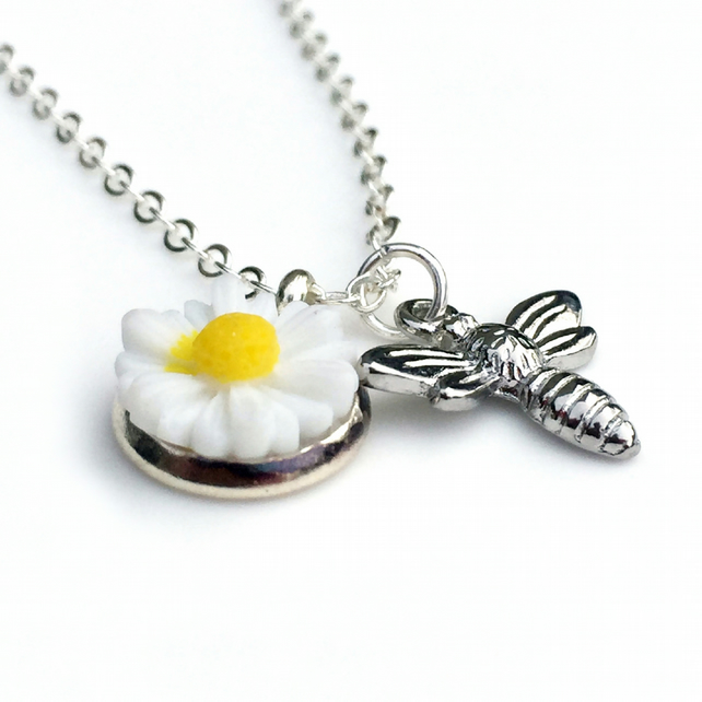 Tiny Honey Bee Necklace, Dainty Bee Charm, Flower Necklace