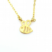 Teeny Bumblebee Necklace, Tiny Gold Plated Bee Charm, Stocking Filler