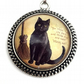 Halloween Necklace, Black Cat Necklace, Gift for Girls, Pagan Yule Gift