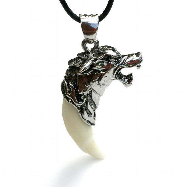 Men's Wolf Tooth Necklace, Gift for Boys, Wolf Pendant Stocking Filler for Boys