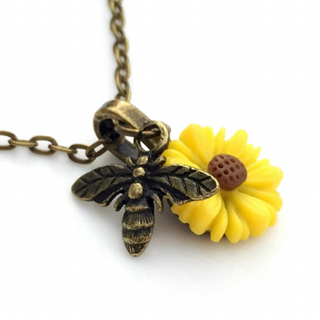 Dainty Honey Bee Necklace, Tiny Bee Charm, Bee and Flower Necklace