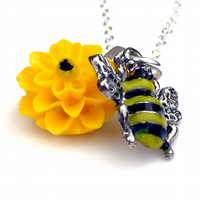 Bumble Bee Necklace, Bumble Bee Charm, Bee and Flower, Conservation Jewellery