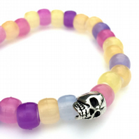 UV Warning Bracelet, Sun Awareness Bracelet, Kids Skull Bracelet, UV Beads