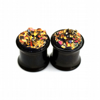1 Pair Black Flesh Tunnels, Stainless Steel, Druzy Ear Plugs, Double Flared