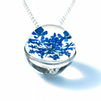 Blue Flower Necklace, Handmade Christmas Gift, Flower Ball Necklace