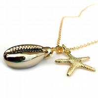 Golden Cowrie Shell and Starfish Necklace, Gift for Her at Christmas