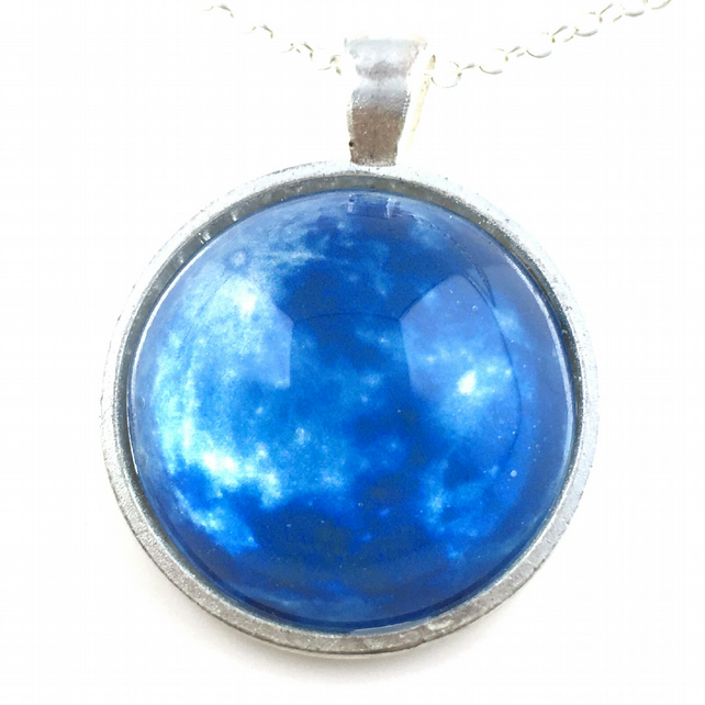 Blue Moon Necklace, Moon Pendant, Nebula Supernova Necklace