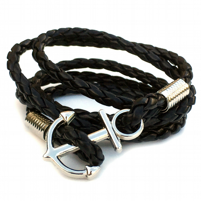 Multi Wrap Black Braided Leather Bracelet, Silver Anchor Bracelet for Men