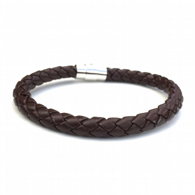 Men's Cuff Bracelet, Brown Leather Braided Bracelet