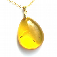 Good Luck Gift Amber Resin Pendant set with Three Dandelion Seeds