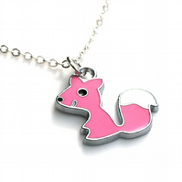 Cute Pink Fox Necklace, Christmas Stocking Filler for Girls