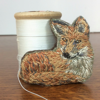 Hand embroidered fox brooch