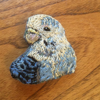Joey the budgie hand embroidered brooch