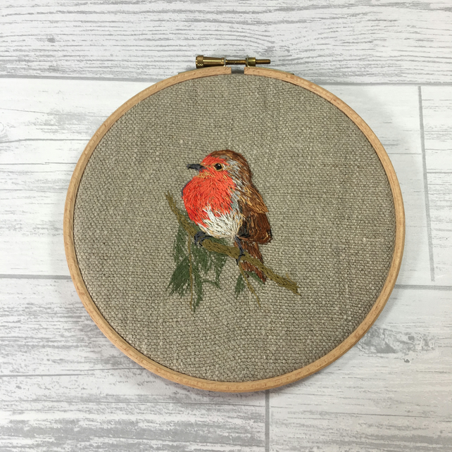 Embroidered hoop picture of a robin