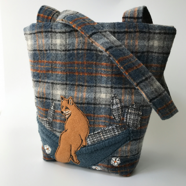 Upcycled wool kilt tartan shoulder bag with appliqué fox