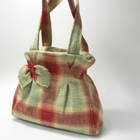 Upcycled tartan handbag with self bow