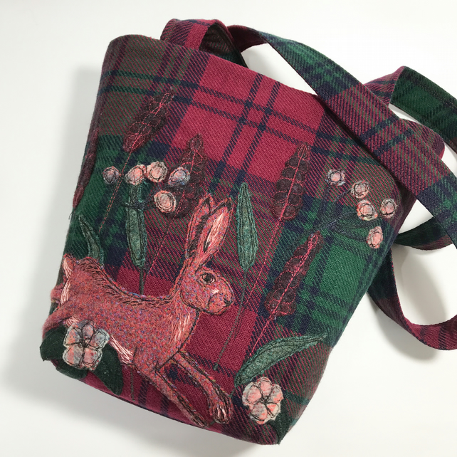 Upcycled Burgundy and green tartan shoulder bag with appliqué hare and leaves