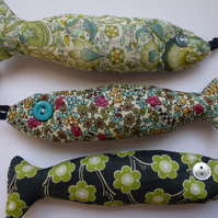 trio of green liberty lavender fish - three lavender bag fishes