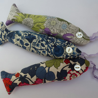 Lavender fish - three liberty tana lawn lavender bags, in red green and blue