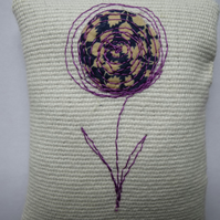 lavender bag with liberty fabric embroidered flower
