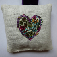 lavender bag with liberty fabric heart