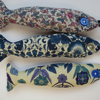 lavender fish - three blue liberty fabric lavender bag fishes