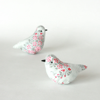 Decorative bird in grey, white and pink fabric with lavender, free p&p UK