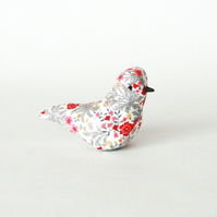 Lavender textile bird in a grey, red and yellow foliage print, free p&p UK