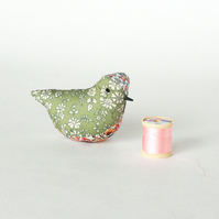 Decorative bird in various Liberty fabric with lavender, free p&p UK