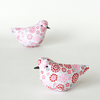 Decorative bird in love heart pattern fabric with lavender, free p&p UK