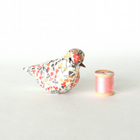 "Lavender textile decorative bird made with Liberty ""Nina Taylor"" fabric"