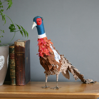 Percival the pheasant, textile art bird, taxidermy sculpture, free postage UK