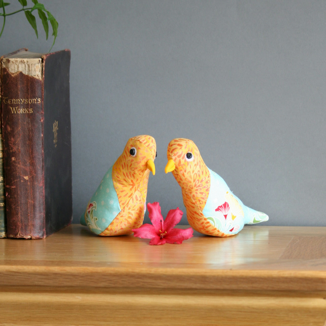 Decorative pair of Love Birds, textile sculpture, free p&p UK