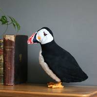 Parker the puffin, textile art bird, original taxidermy sculpture, free P&P UK