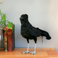 Caleb the crow - textile art bird, taxidermy sculpture, free postage UK