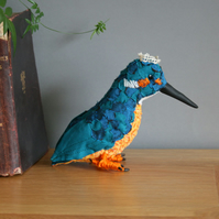 Will the Kingfisher, textile art bird, taxidermy sculpture, free postage UK