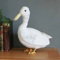 Olivia the duck, free standing bird textile taxidermy sculpture, free postage UK