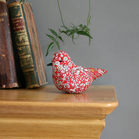 Lavender textile bird made with Liberty Junes Meadow fabric, free P&P UK