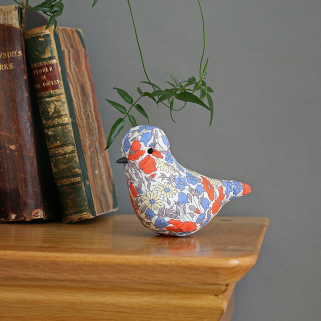 Lavender textile bird made with Liberty Poppy and Daisy fabric, free P&P UK