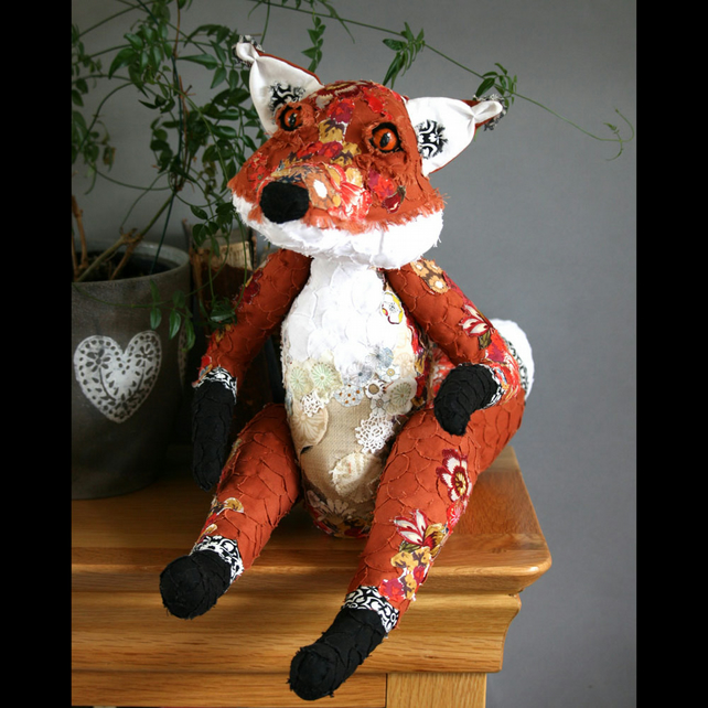 Ford the Fox - Jointed decorative textile sculpture with appliqué detail