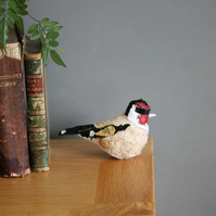 Goldfinch textile art bird, taxidermy sculpture, free postage UK